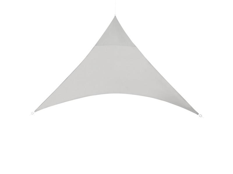 [en.casa] voile d'ombrage toile solaire polyester polyuréthane triangulaire gris clair 400 x 400 x 400 cm
