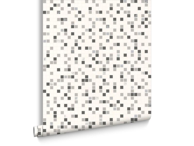 Papier Peint Cuisine Et Salle De Bain Contour Checker Blanc