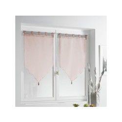 Paire de voile pompon à passants voile sable lissea rose 60 x 90 cm