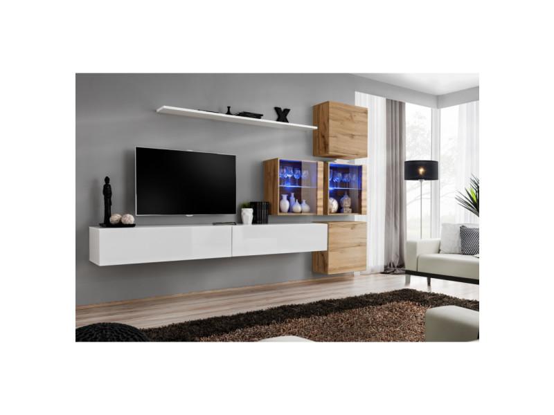 Ensemble mural - switch xix - 4 vitrines - 2 bancs tv - 1 étagère - bois et blanc - modèle 2