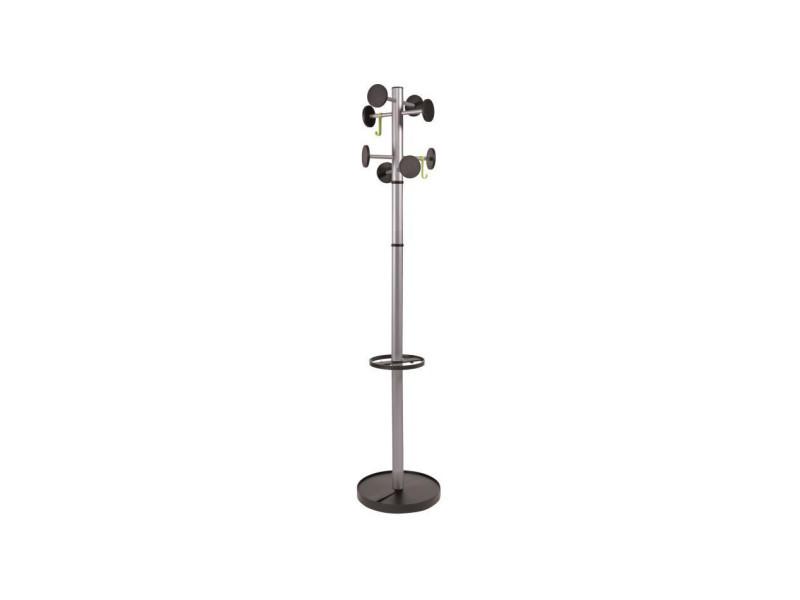 Alba portemanteau acier 8 pateres - gris métall - ø 35,5 x h 175 cm ø tube : 48 mm