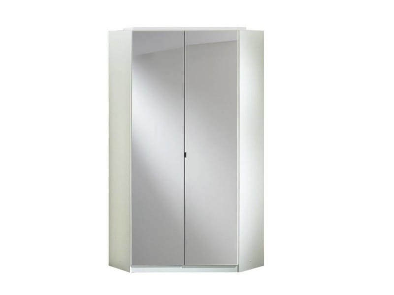 armoire d 39 angle cooper blanche avec miroirs 2 portes. Black Bedroom Furniture Sets. Home Design Ideas