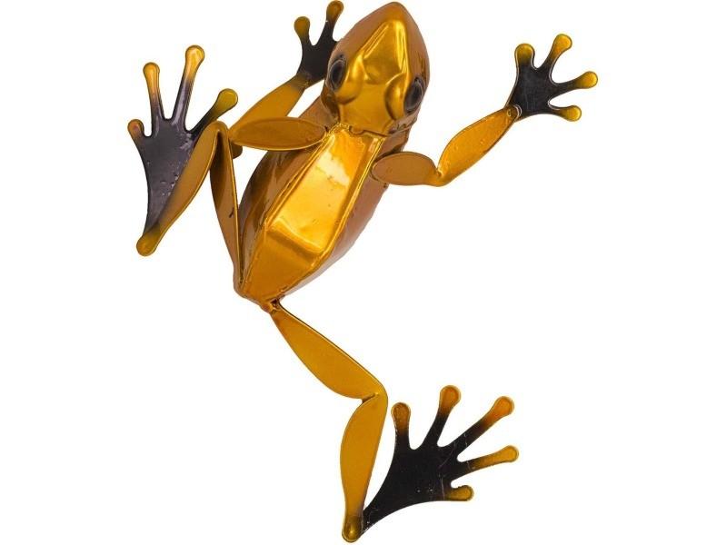 Statue de jardin grenouille décorative en métal coloré 19 cm