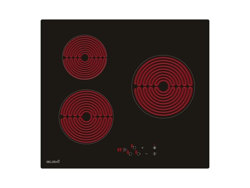Table de cuisson vitrocéramique 3 foyers - encastrable beldeko, minuteur multi-zones, verrouillage enfants