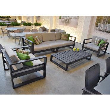 Salon de Jardin FLORIDA 5 pièces en aluminium gris anthracite et ...