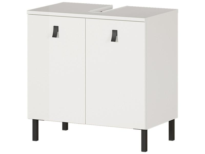 Meuble bas pour lavabo coloris blanc - longueur 60 x hauteur 60 x profondeur 35 cm