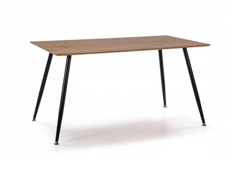 Bobochic table 140 cm tina couleur bois chêne et pieds métal noir