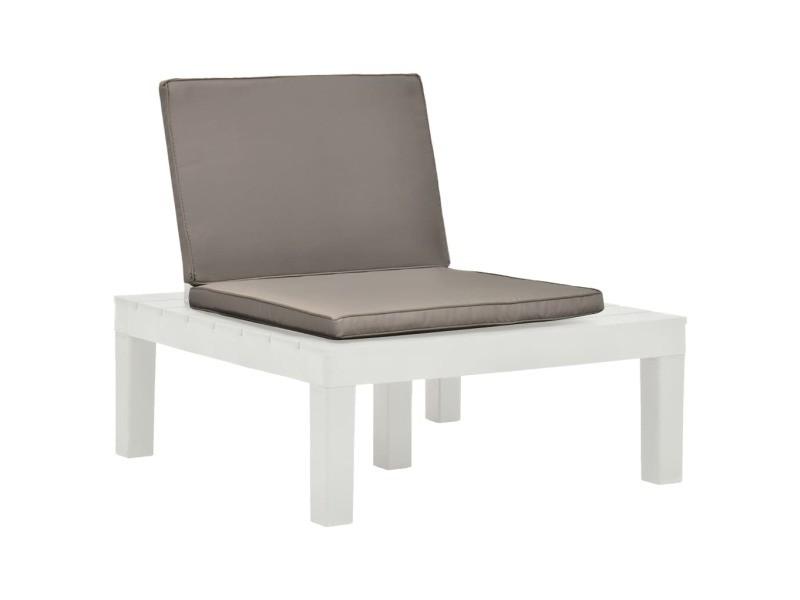 Icaverne - chaises de jardin famille chaises de salon de jardin et coussins 2 pcs plastique blanc