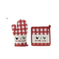 Gant + manique les belles cocottes rouge/ecru  les ateliers du linge