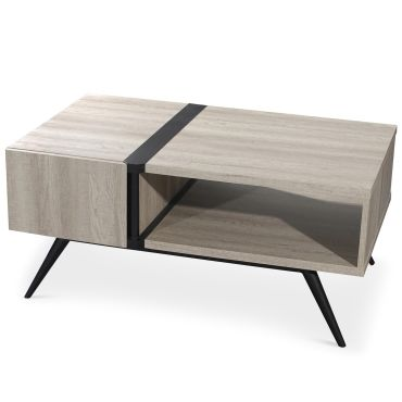 table basse scandinave allure ch ne clair et noir vente. Black Bedroom Furniture Sets. Home Design Ideas