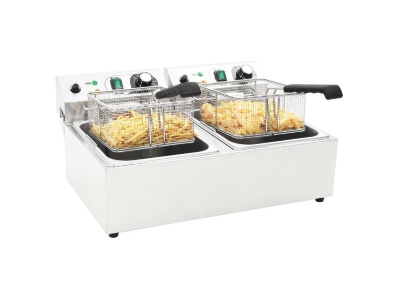 Icaverne - friteuses ligne friteuse double électrique acier inoxydable 20 l 6000 w