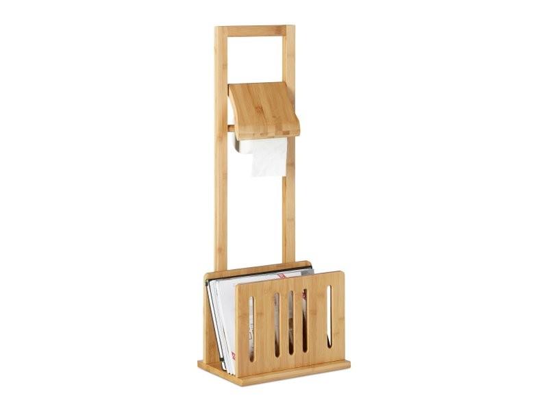 porte papier toilette avec porte revues en bambou 81 5 cm helloshop26 3213041 vente de salle. Black Bedroom Furniture Sets. Home Design Ideas