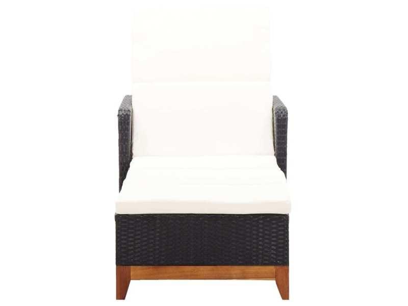 Icaverne - bains de soleil selection chaise longue résine tressée et bois d'acacia massif noir