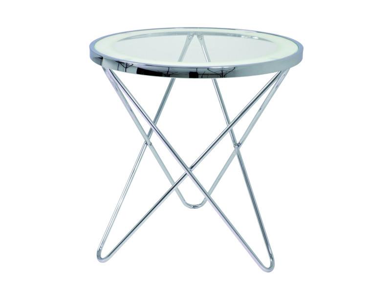 Table d'appoint 2 chromé, dim : h54 x ø45 cm