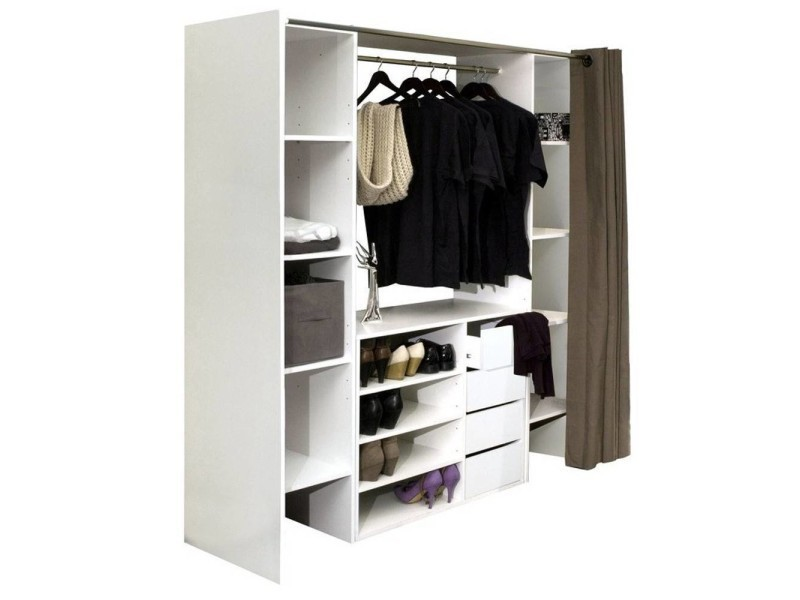 dressing extensible chica 2 colonnes 4 tiroirs blanc avec rideau taupe 20100848319 vente de. Black Bedroom Furniture Sets. Home Design Ideas