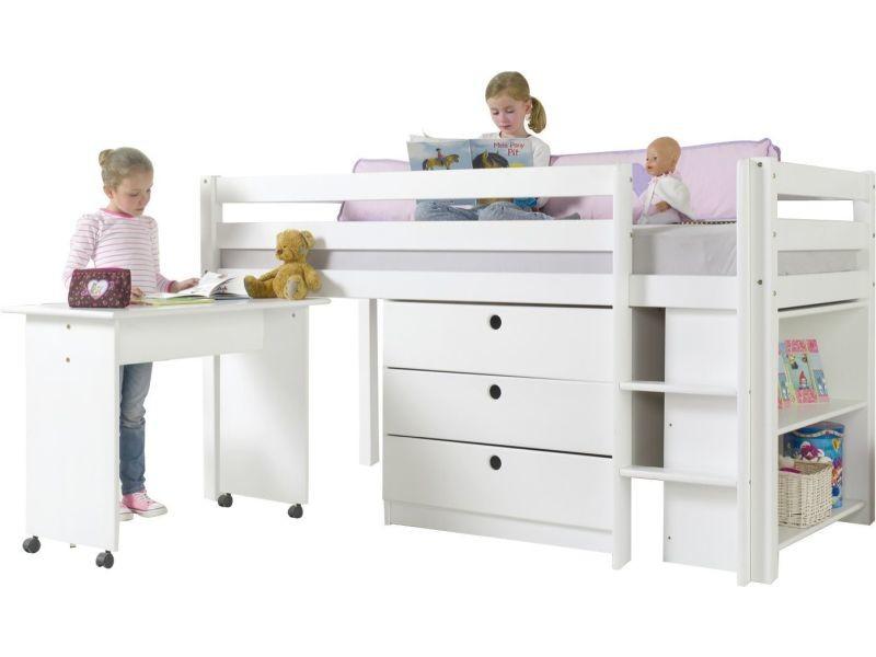 Lit mi hauteur combiné 90x200 cm avec 3 tiroirs étagère et un bureau