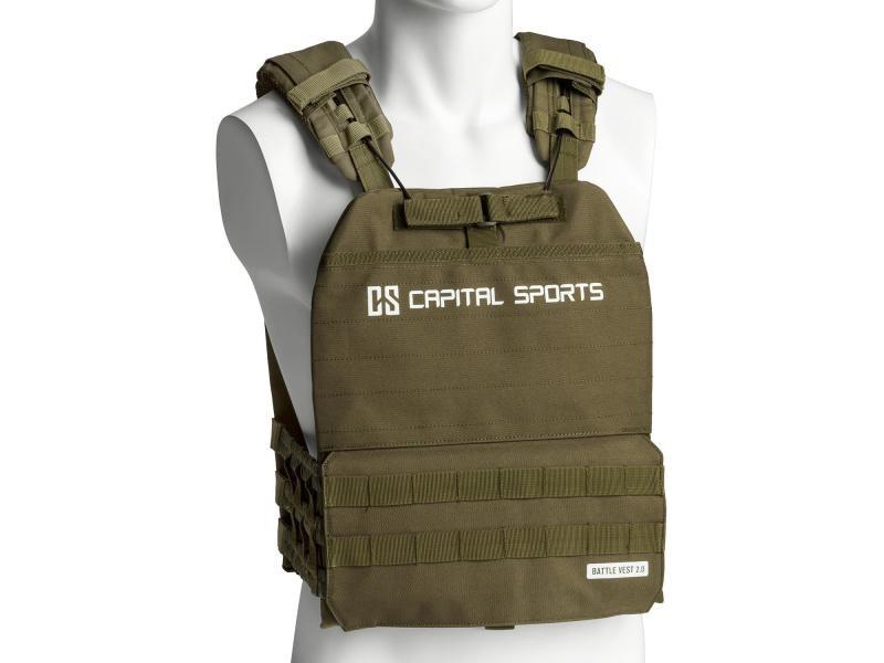 Capital sports battlevest 2.0 veste lestée de poids 13 kg - exercices musculation & fitness - 4 disques en acier /2x 2,5kg + 2x 4kg) - verte FIT20-BV 29lbs Ol