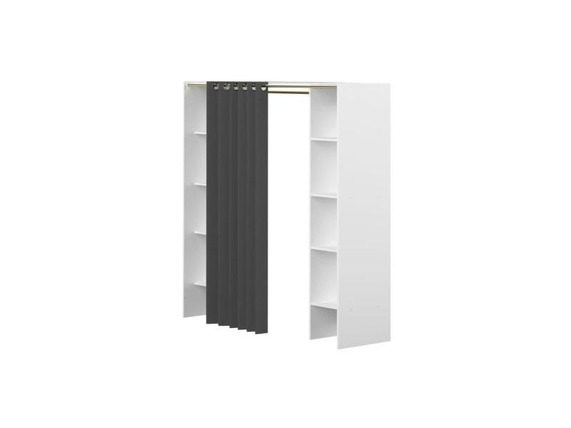 Dressing en bois gris/blanc extensible avec rideau 2 colonnes ...