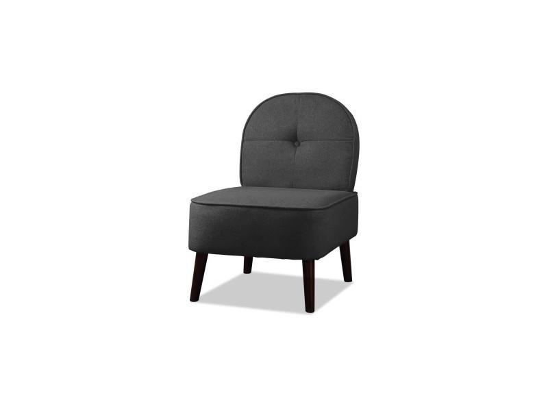 Daisy fauteuil pieds bois - tissu charbon - l 52 x p 67 x h 76 cm