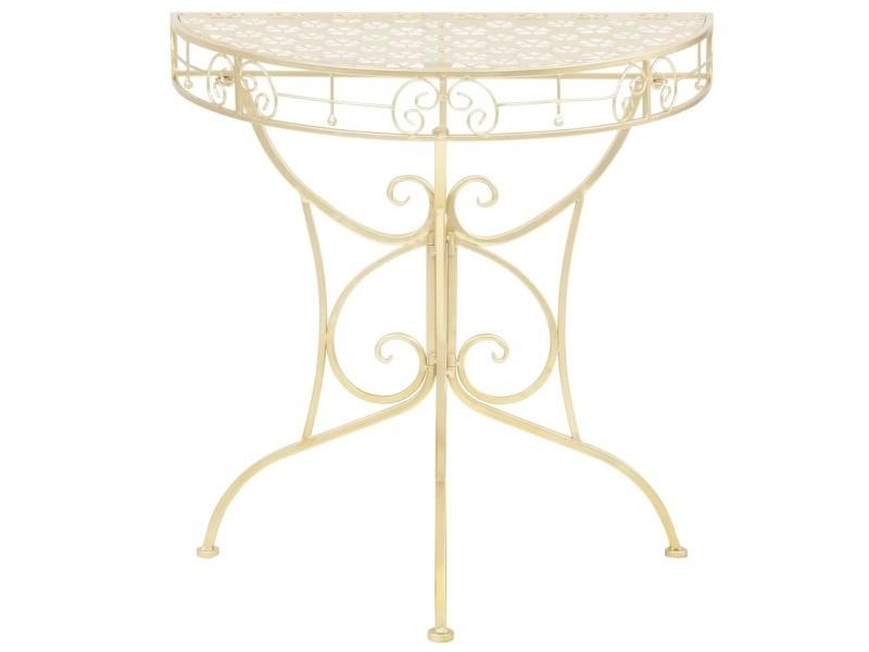 Icaverne - bouts de canapé famille table d'appoint vintage demi-ronde métal 72 x 36 x 74 cm doré