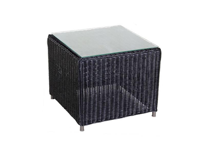 Table d'appoint en résine tressée carrée noire togu