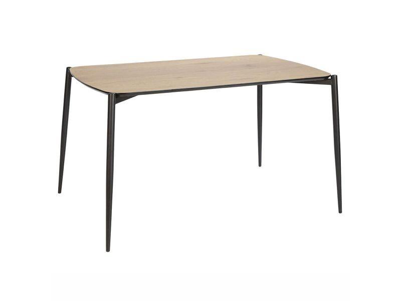 Maud - table repas 120cm plateau effet bois et pieds métal