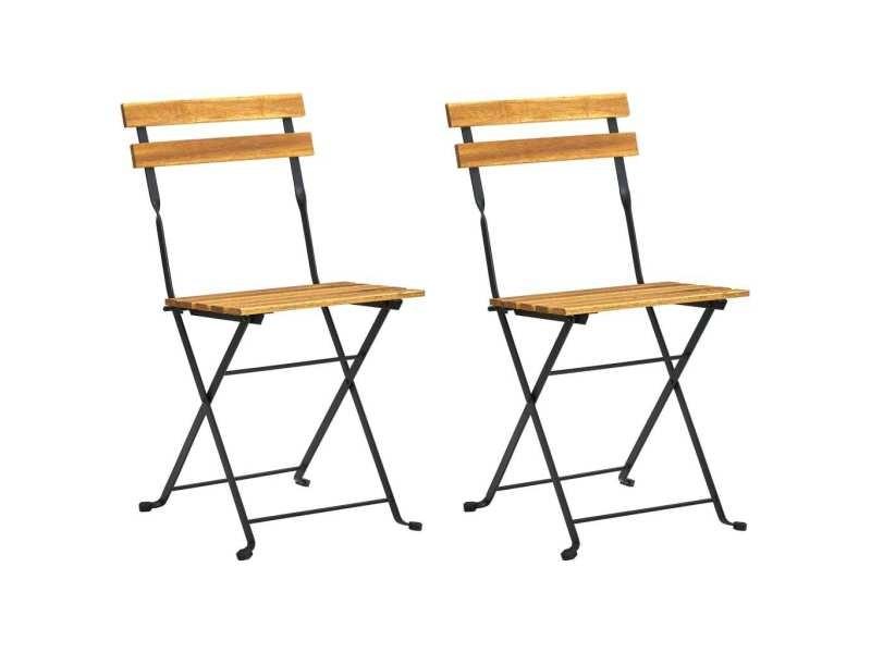 Vidaxl chaises pliables de jardin 2 pcs acier et bois d'acacia solide