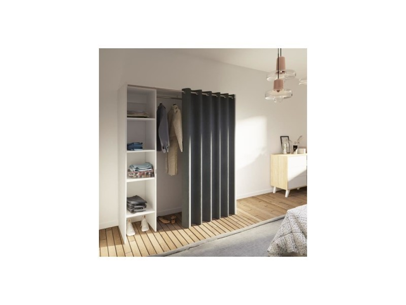 dressing en bois gris blanc extensible avec rideau 1 colonne artemis vente de dressing conforama. Black Bedroom Furniture Sets. Home Design Ideas