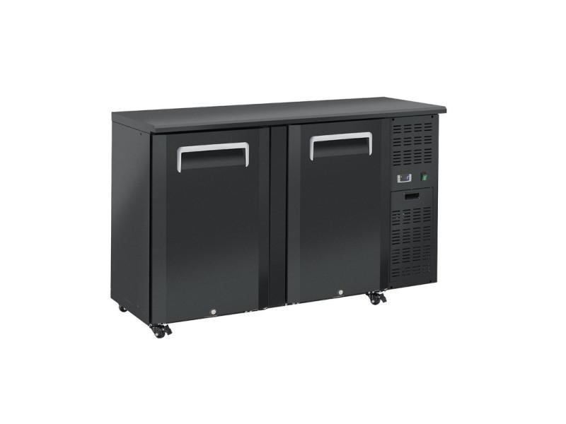 Arrière bar réfrigéré portes pleines en skinplate anthracite - qb - r2904 portes350pleine/battante