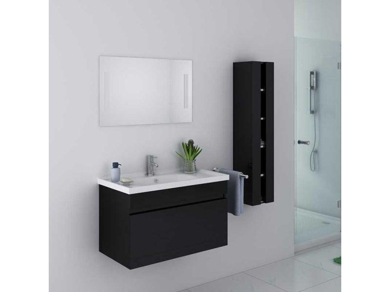 Meuble de salle de bain dis800a noir vente de distribain - Meuble colonne salle de bain conforama ...