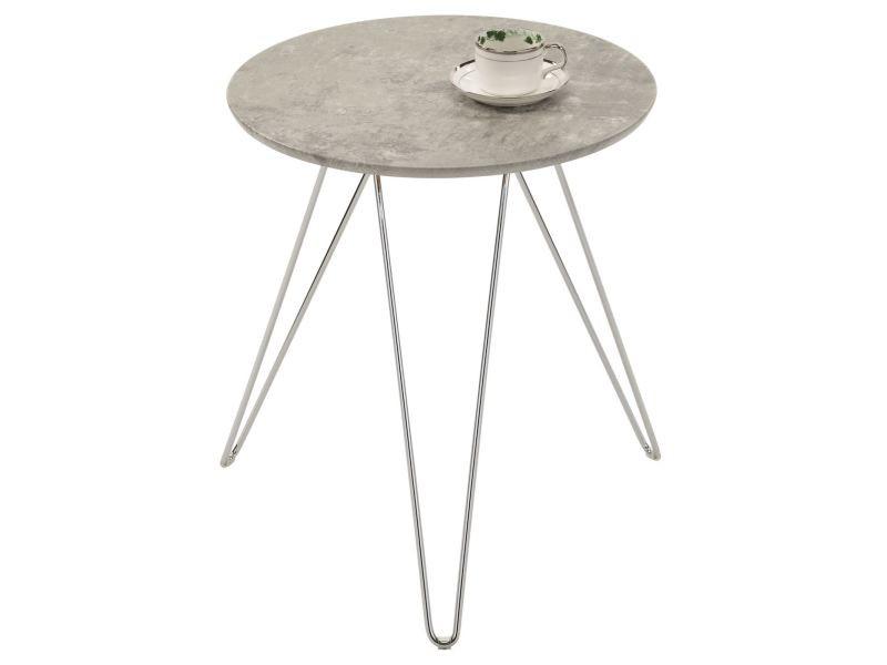 Table d'appoint benno table à café table basse ronde bout de canapé design retro vintage pieds épingle en métal chromé, décor béton