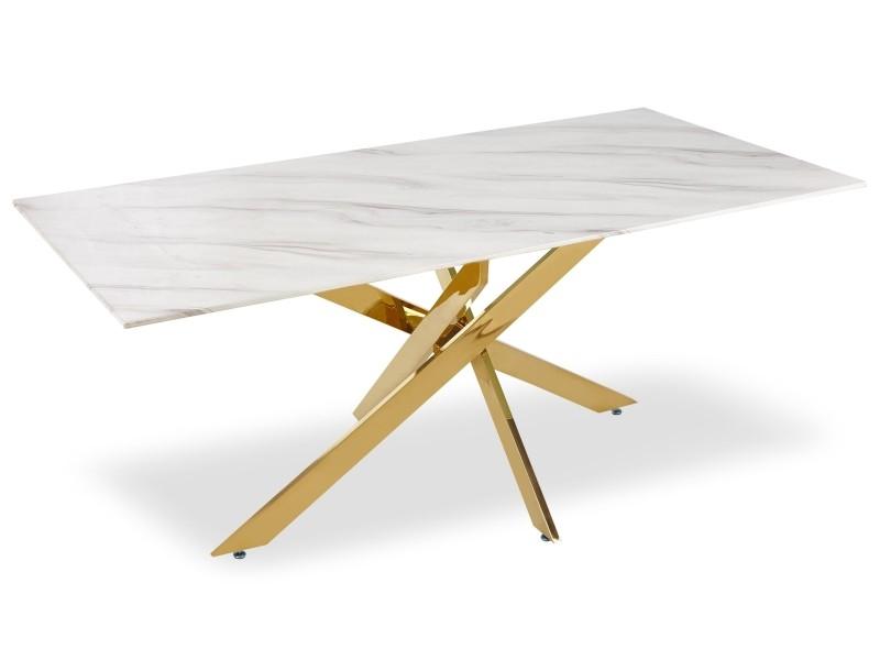 Table manger naelle en verre effet marbre et pieds or - Conforama table de salle a manger en verre ...