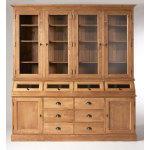 Buffet vaisselier 6 portes, 6 tiroirs, 4 trappes vitrées     n25-bois