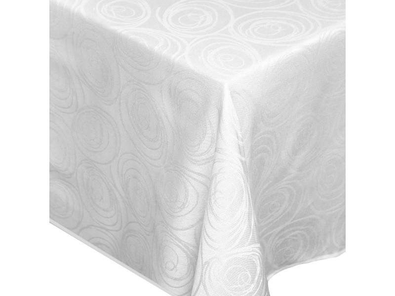 Nappe rectangle 150x300 cm jacquard 100% coton spirale blanc