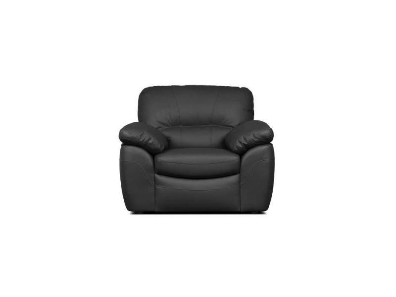 Fauteuil elvis fauteuil fixe - cuir de vachette et pu noir - style contemporain - l 110 x p 97 cm