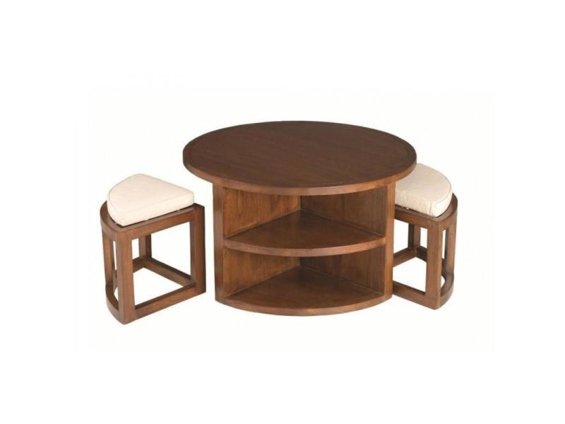 Ensemble table basse ronde 90cm 2 tabourets lauren en mindi style colonial 20100857870