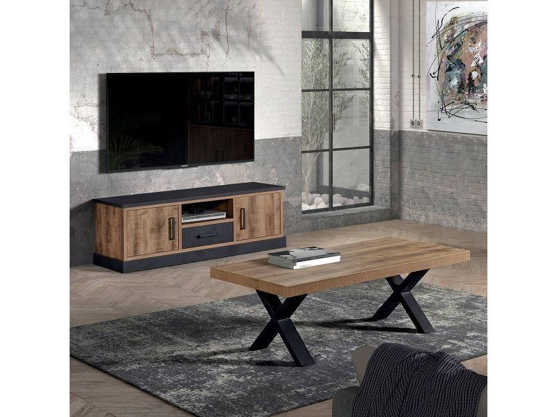 Jenna - ensemble table basse + meuble tv aspect bois et métal