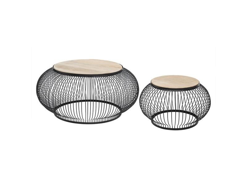 Table basse x2 métal et bois de manguier esther atmosphera - naturel clair