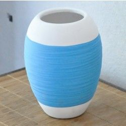 Vase déco style bobine bleu (19 cm)