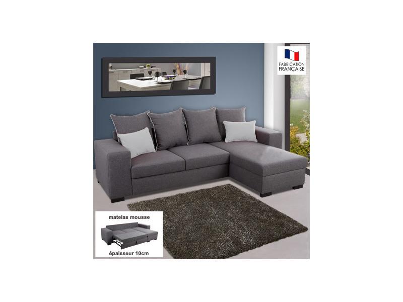Canapé d'angle réversible convertible en tissu gris et gris clair