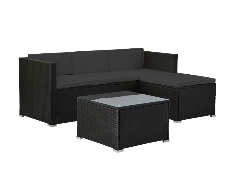 Lumio - salon bas de jardin 4 places - modulable - en résine tressée noire avec coussins gris couleur - noir