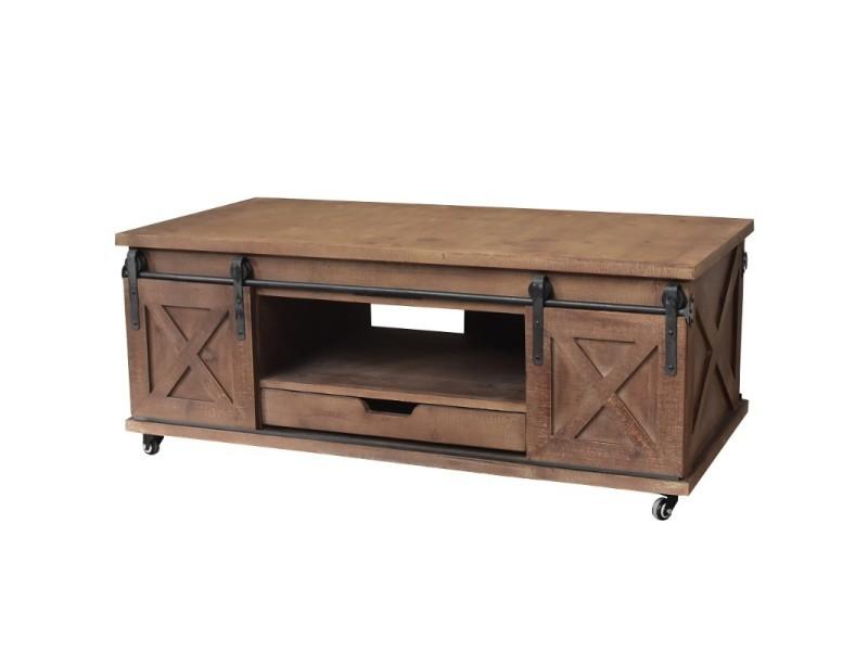 Grande table basse de salon bois fer porte à roulettes 120x60x45 cm 10909-BIS