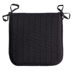 Coussin galette de chaise jacquard rayure noir 40 x 40 cm