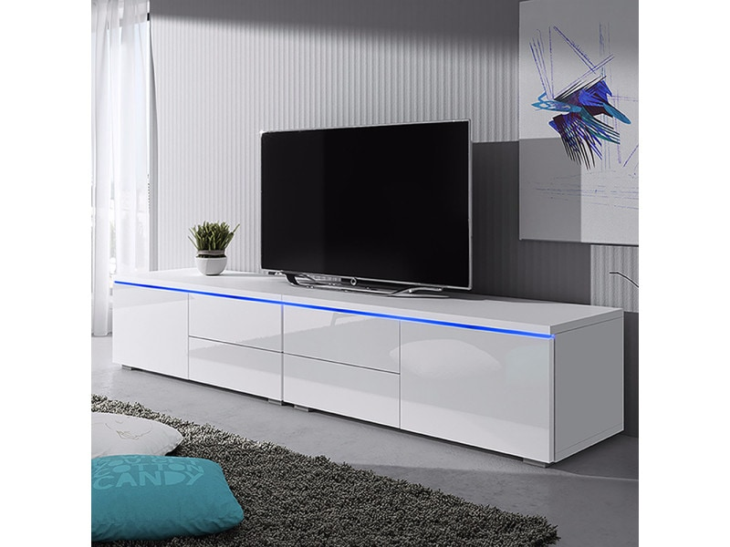 Meuble Tv 200 Cm Luvitca Dualle Blanc Mat Blanc Brillant Avec Led Selsey France Vente De Meuble Tv Conforama