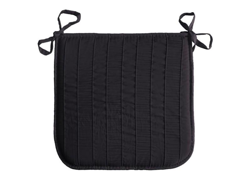 Coussin galette de chaise jacquard rayure noir 40 x 40 cm for Housse de chaise conforama