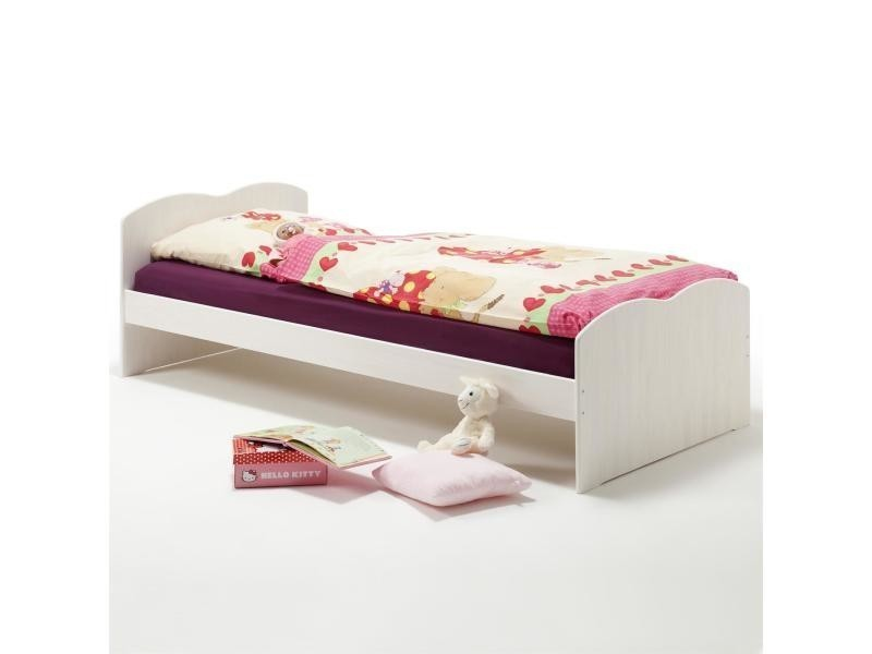 lit simple pin massif 90 x 200 cm lasur blanc vente de idimex conforama. Black Bedroom Furniture Sets. Home Design Ideas