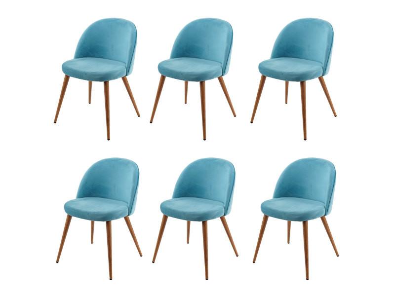 6x chaise de salle à manger hwc-d53, fauteuil, style rétro années 50, en velours ~ bleu turquoise