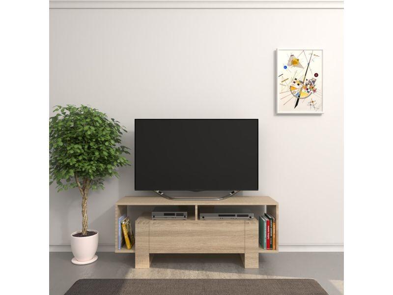Meuble tv design melville - l. 120 x h. 47 cm - marron sonoma