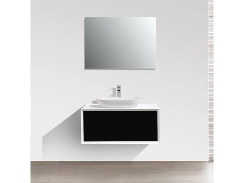 Meuble salle de bain simple vasque palio 90 cm, blanc / noir ...