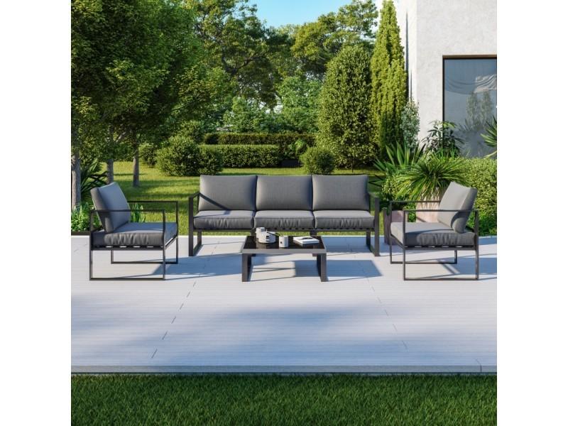 Salon de jardin design aluminium 5 places couleur gris - figari